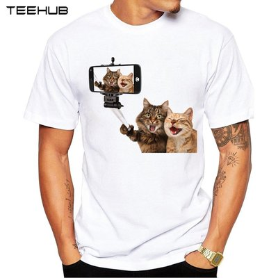 Laughing Cats男式T恤3D搞笑貓印花T恤時尚短袖動物上衣 黑騎士ヶ