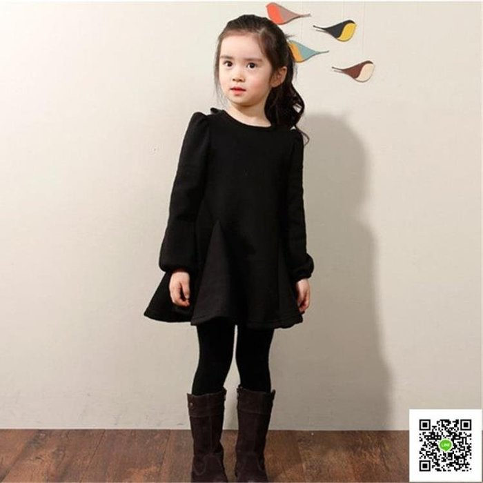 女童加絨洋裝韓國酒紅色大擺加厚公主裙保暖不倒絨兒童娃娃秋冬