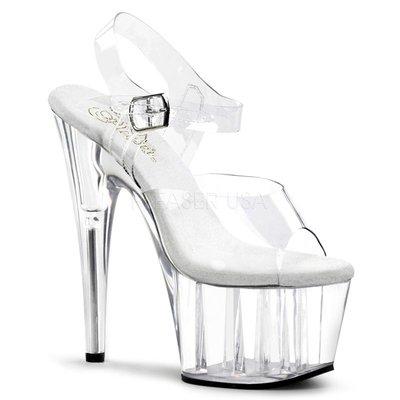 Shoes InStyle《七吋》美國品牌 PLEASER 原廠正品透明厚底高跟涼鞋 有大尺碼『白色』