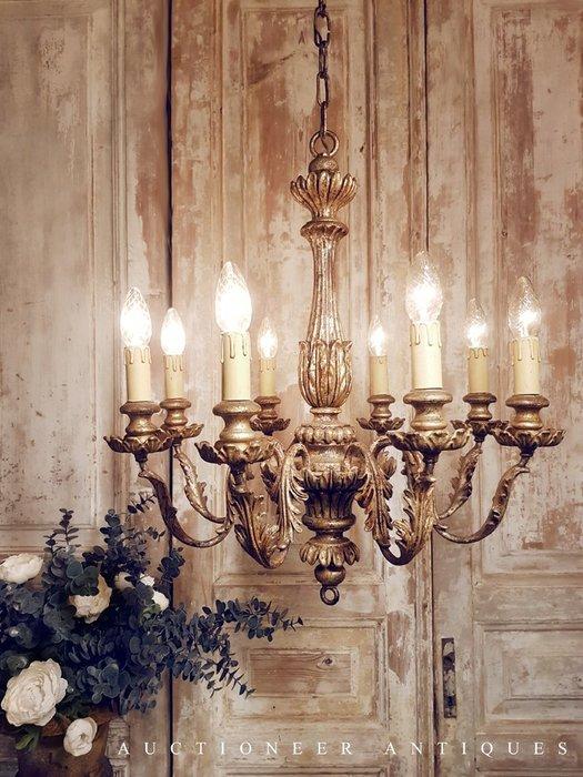 【拍賣師古董市集】歐洲古董1930年代義大利實木吊燈