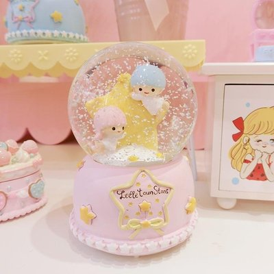 可愛夢幻雙子星水晶球音樂盒浪漫雪花女生禮物可愛桌面裝飾擺件WY