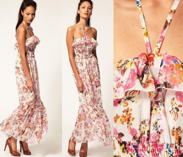 【ASOS WORLD】英國直送 現貨特價 浪漫風情粉嫩繽紛印花荷葉繞頸綁帶渡假感長洋裝  UK8