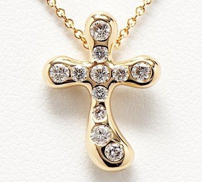 (全新) Tiffany 18K 滿鑽十字架鑽石項鏈,專櫃價8萬8000元!