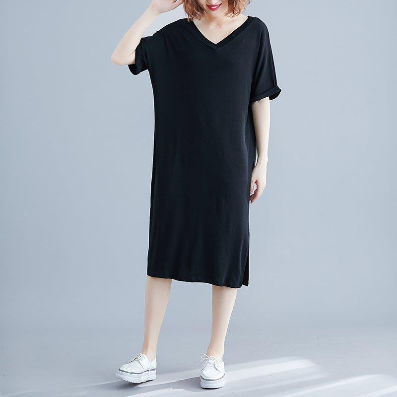 超夯夏季新品文藝V領短袖中長款兩側開叉大碼胖mm圓領短袖連衣裙