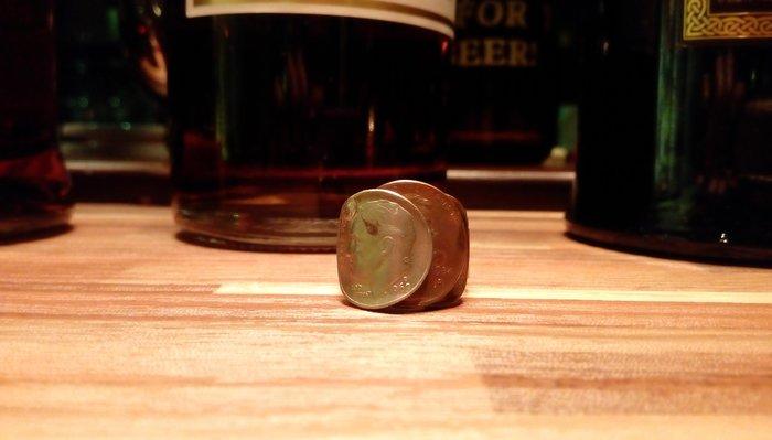 [OV&O] 藝術家創作 古董錢幣戒指 三錢疊疊樂