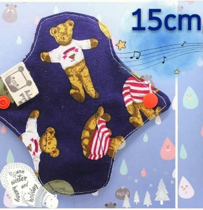 【15cm泰迪熊+極地企鵝+一般扣】原創 MIT 純棉布護墊,棉質輕薄布護墊,吸收層,環保透氣月亮杯 cloth pad