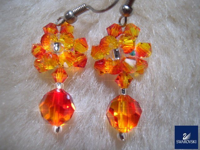 ※水晶玫瑰※ SWAROVSKI 地球珠水晶 耳勾式耳環(DD441)