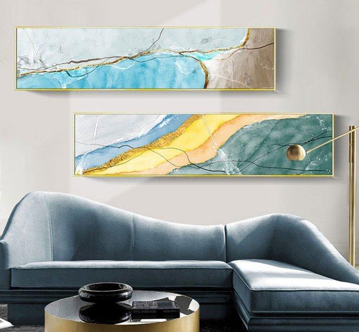 ABOUT。R 彩色密碼時尚抽象橫幅床頭掛畫臥室房間掛畫設計師款裝飾畫客廳沙發背景牆橫式壁畫版畫工業風裝飾品(10款可選