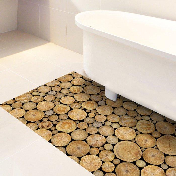 暖暖本舖 森林原木頭 防髒污 防灰塵 廚房浴室防滑地板貼紙  地毯貼紙 牆壁貼 創意裝飾貼 裝潢貼紙 玄關貼 可訂製尺寸