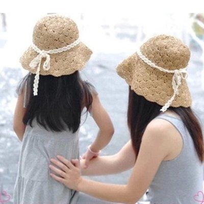 兒童草帽 女童草帽 沙灘親子帽 兒童遮陽帽 親子草帽 漁夫帽 附贈一條防風繩