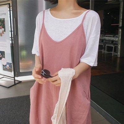 棉麻連身裙韓系 好質感亞麻寬鬆細肩帶長裙吊帶裙 艾爾莎【TAK7787】