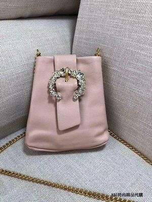 A&E精品代購TORY BURCH 典雅時尚潮流 寶石裝飾手機包 粉色鍊條斜背包  美國代購