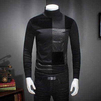 【時尚先生男裝】男冬季高領打底衫加絨加厚長袖T恤保暖修身內搭2019新款大碼潮流