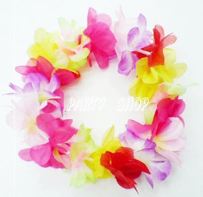 S23【派對樂】夏威夷花圈,草裙, 生日舞會尾牙派對用品__彩色夏威夷頭環(D)