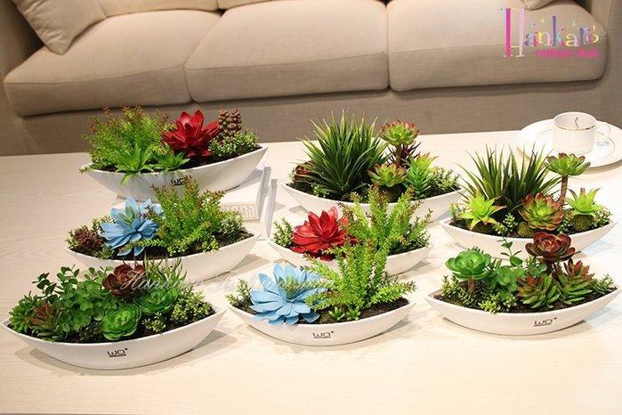 ☆[Hankaro]☆ 時尚個性陶瓷仿真多肉植物小尺寸船型盆栽擺飾