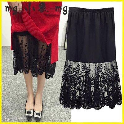 網紗裙 高腰秋冬季蕾絲打底裙內搭半身裙中長款韓版網紗內襯裙