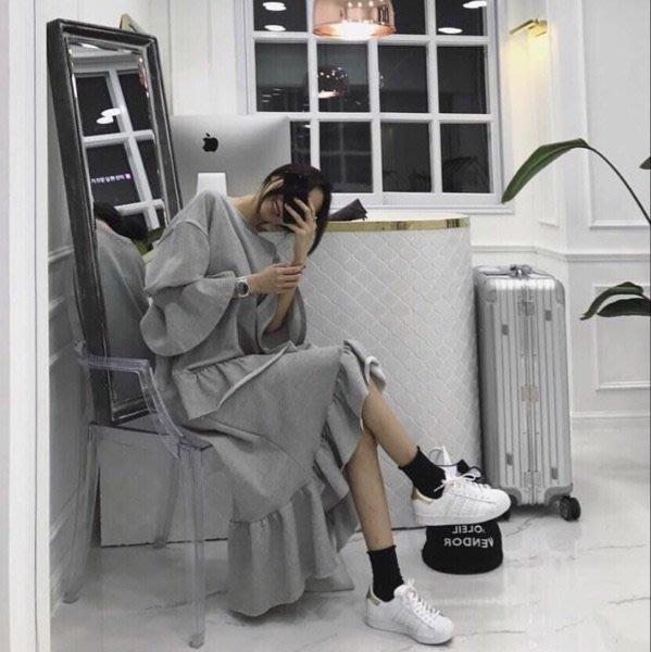 韓新款M2020不規則荷葉邊連衣裙/休閒文藝寬鬆時尚顯瘦修身設計款防曬禪風民族風復古單正品日韓款外套