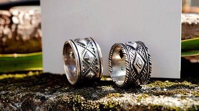 【monolith】菱形打印舊化戒指 職人手作 Navajo