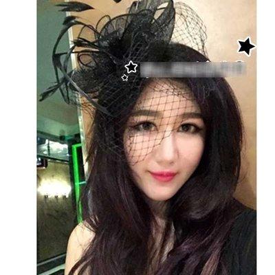 5Cgo【鴿樓】會員有優惠 44611827468 歐美誇張派對舞台演出網紗花朵頭飾髮飾 新娘羽毛緞帶蕾絲面紗髮夾配飾品