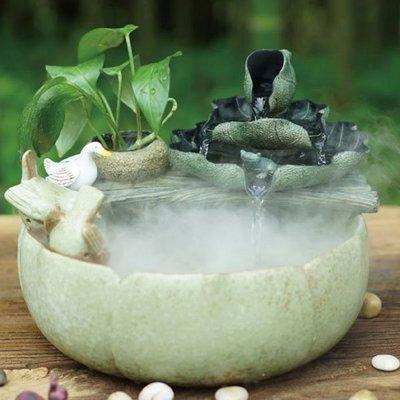 5Cgo【宅神】含稅會員有優惠530410356627 碧蓮工藝品裝飾陶瓷流水噴泉擺件書房辦公室內精致加濕器微景觀造景茶