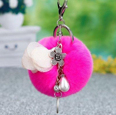 ☜男神閣☞韓國創意可愛復古花朵汽車鑰匙扣女包包掛件鑰匙鏈兔毛絨毛球飾品