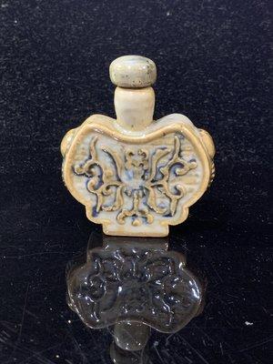 【黛玉珍藏】釋出舊藏 手工瓷繪 獸鈕 瓷鼻煙壺 +原裝蓋(少有原裝蓋,敬請把握)