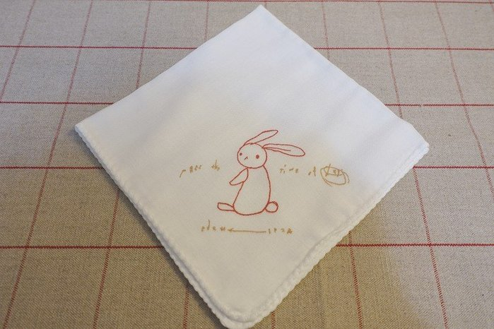 《散步生活雜貨》日本製 Vanilla Chair雜貨屋 兔子100%棉 紗布手帕-紅色