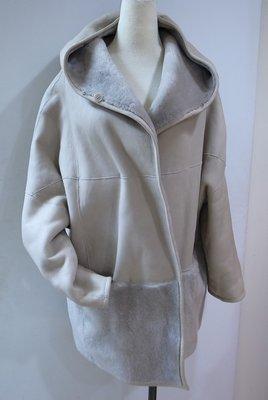 MaxMara 米灰羊皮連帽外套