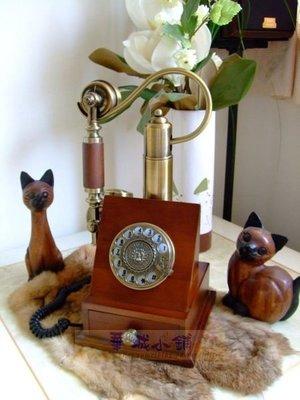 143華城小鋪** 復古電話 仿古電話 家用有線電話 手繪古銅電話 撥盤式方型實木復古電話
