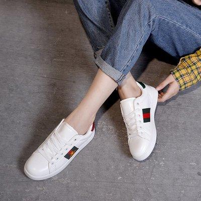 免運 小白鞋女 秋小蜜蜂小白鞋女百搭平底板鞋情侶運動鞋軟底防滑學生跑步鞋