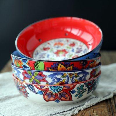 日式和風陶瓷精美外貿出口正品尾單陶瓷深盤系列熱炒菜盤蔬菜水果沙拉深盤免運