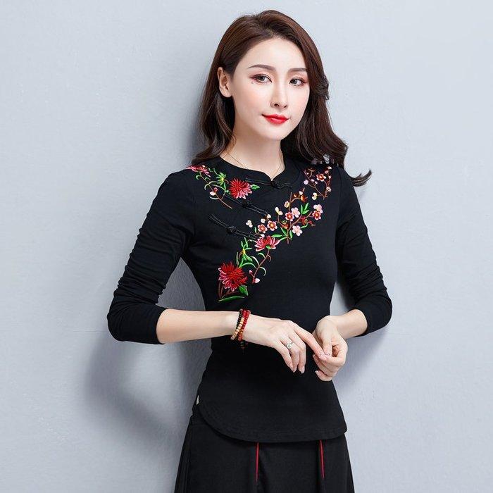 創意 民族風時尚民族風女裝刺繡立領打底衫秋冬裝新款中國風盤扣大碼長袖T恤上衣