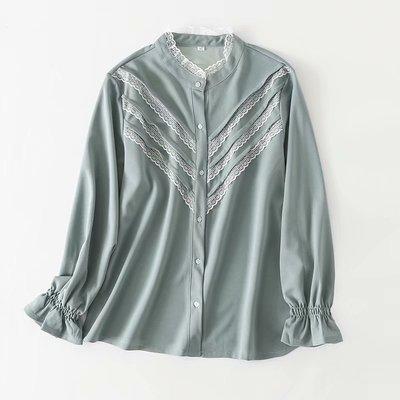 韓國連線-秋冬新款2018大碼女裝加大蕾絲木耳立領花邊襯衫189080