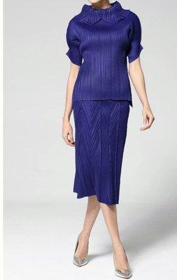 殷郊太子褶衣館0912三宅風褶皺藍色褶皺套裝
