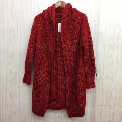 【愛莎&嵐】韓版 女 紅色連帽混羊毛編織罩衫外套 (全新有口袋) 1071001