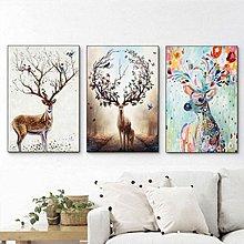 北歐現代簡約麋鹿裝飾畫心客廳臥室掛畫油畫布噴繪