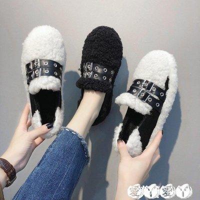 豆豆鞋 豆豆鞋女秋平底網紅同款秋季毛毛鞋女冬外穿棉瓢鞋女加絨