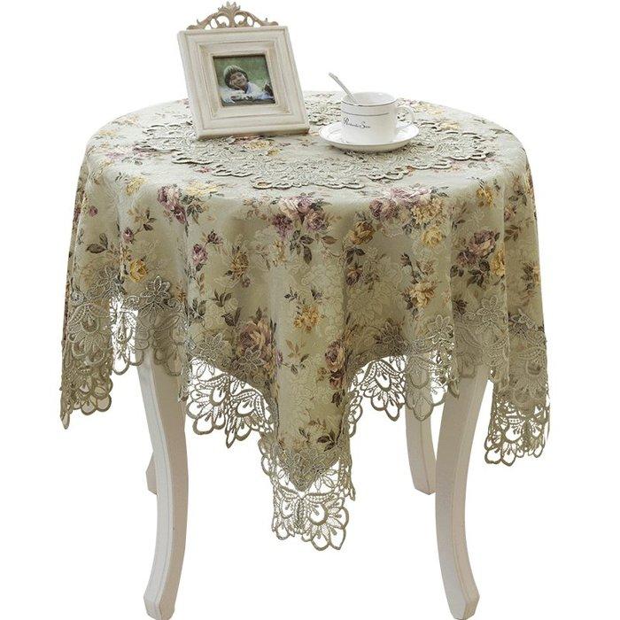 創意 居家 裝飾泰繡繡花桌布歐式田園圓桌餐桌旗蕾絲布藝鏤空桌墊茶幾臺布椅套