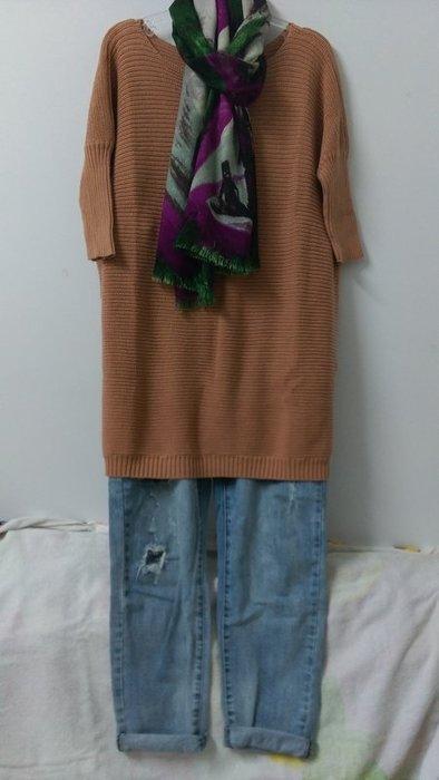 (老銀屋)春裝棉質五分袖寬鬆針織衫