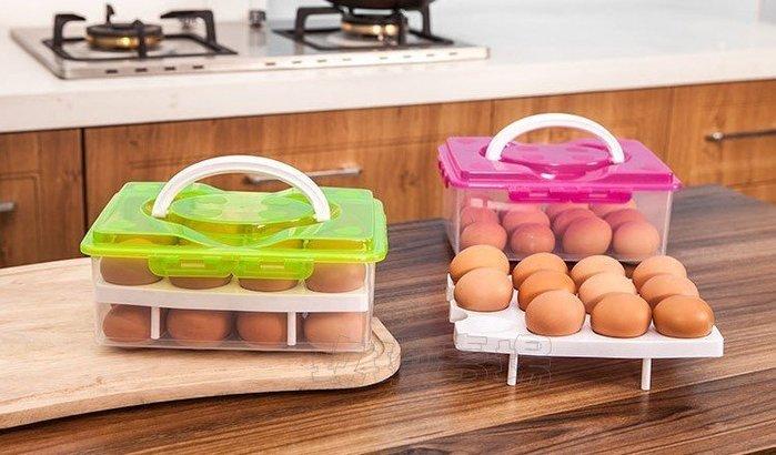 (玫瑰Rose984019賣場)玫瑰雙層雞蛋儲放盒(雞蛋安全盒)~有提把帶著走.可放24顆.防止雞蛋破裂.安全方便