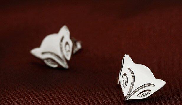 純銀飾品銀飾耳釘火狐貍耳釘銀針鍍白金防過敏貨耳飾潮流耳飾