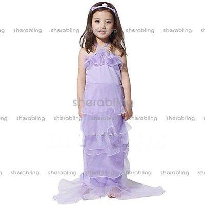 (PR-A_228)COS萬聖節美人魚服裝 表演服裝兒童紫色美人魚公主紗