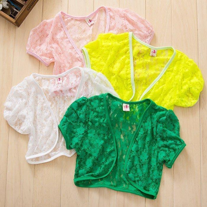 韓版《百搭蕾絲款》短版罩衫~小外套 (L1-3)