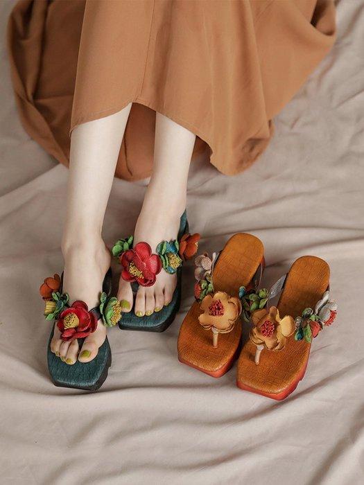 *菇涼家*桃花朵朵開。牛皮花朵人字拖中跟坡跟女鞋真皮外穿凉拖