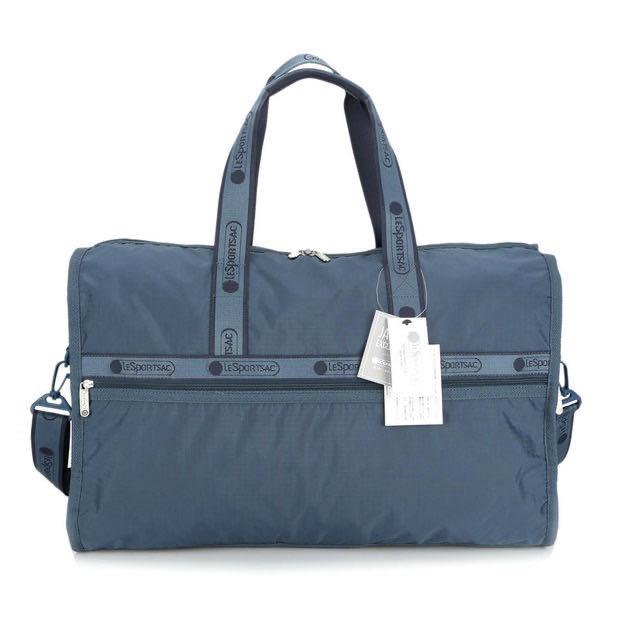 Lesportsac 霧霾藍 刺繡背帶 7185手提肩背斜背大款旅行包 限時優惠