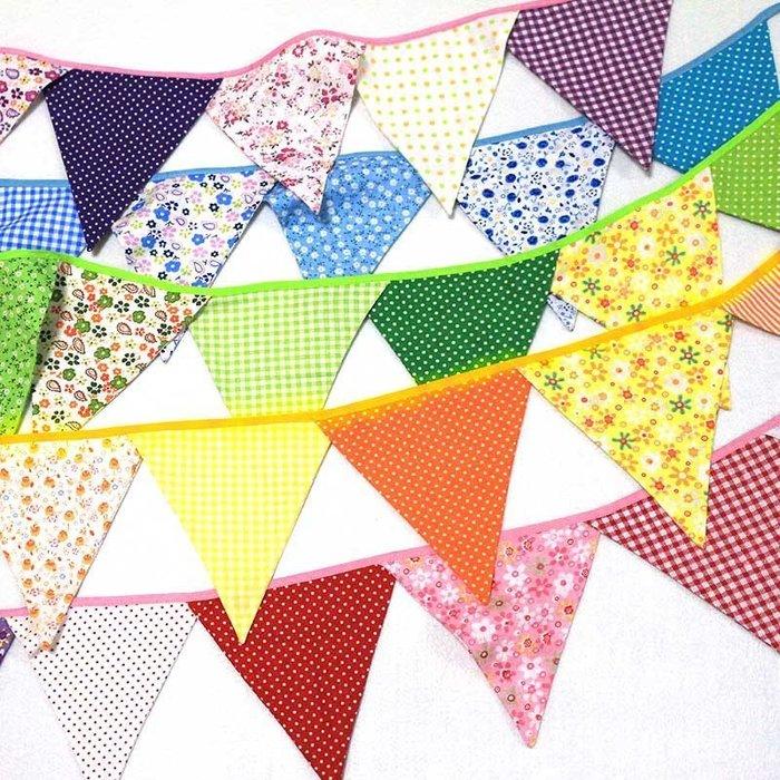 {{五彩}} 棉布掛條三角旗    野餐露營/生日派對/婚禮佈置裝飾用品