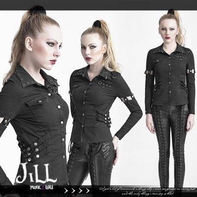 Oo吉兒oO【JPY617】龐克搖滾ROCK N ROLL樂團風 接袖設計高彈力修身長袖襯衫  PUNK