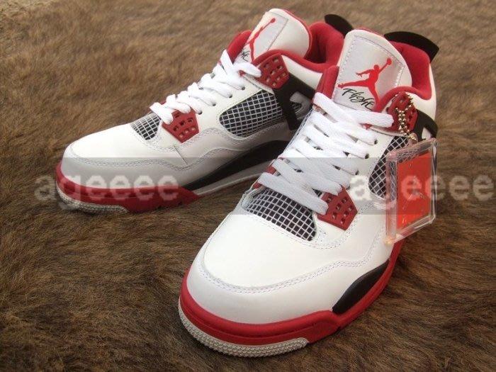 NIKE Air Jordan 4 AJ4 Retro Fire Red 308497-110 OG 白黑紅  火星