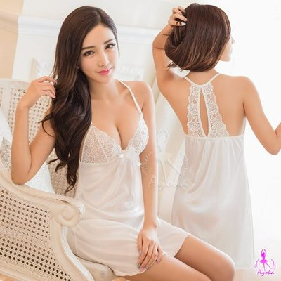 【惑☆夜東京】純白柔緞蕾絲花邊美背睡衣