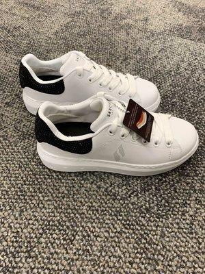 安安精品保證正品~2019美版水鑽鞋高3cm明星款記憶鞋墊skechers73707WBK